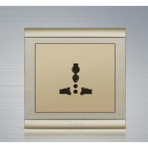 极浦香槟金优质钢架插座 极浦 多功能三孔插座 插座厂家 电工